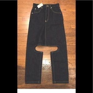 Yen Jeans Small Skirt Pant Legs Crotch Bondage